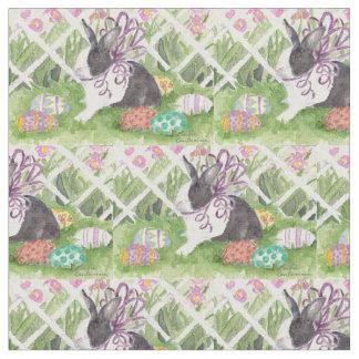 Aquarell-niederländische Kaninchen-Ostereier Stoff