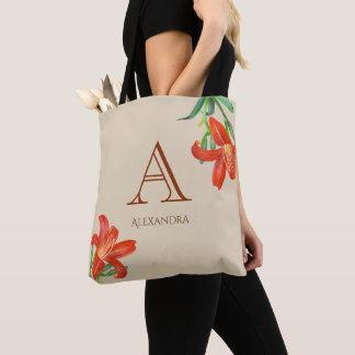 Aquarell-orange Lilien-Blumenkunst-Monogramm Tasche