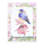 Aquarell-Ostdrossel-blaue Vogel-Kunst 12,7 X 17,8 Cm Einladungskarte