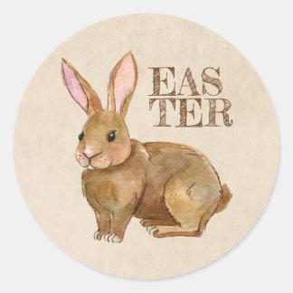 Aquarell-Osterhasen-Kaninchen Runder Aufkleber