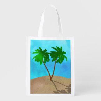 Aquarell-Palme-Strand-Szenen-Collage Wiederverwendbare Einkaufstasche