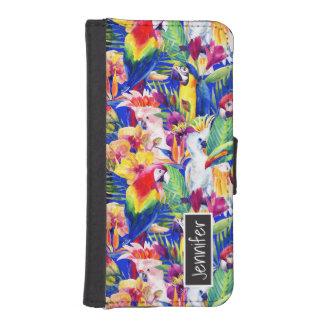 Aquarell-Papageien | addieren Ihren Namen iPhone SE/5/5s Geldbeutel Hülle