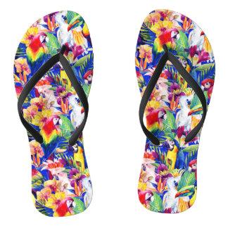 Aquarell-Papageien Flip Flops