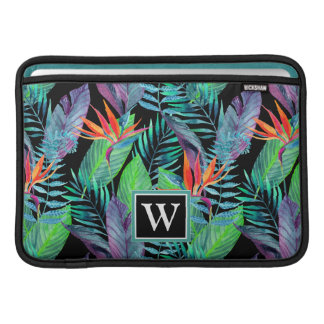 Aquarell-Paradiesvogel | addieren Ihre Initiale MacBook Sleeve