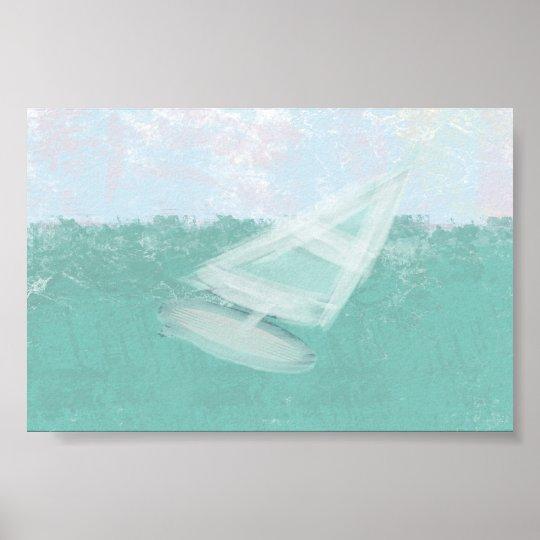 Aquarell-Pastelle Windsurf Seedämmerungs-Plakat Poster