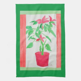 Aquarell-Poinsettia Handtuch
