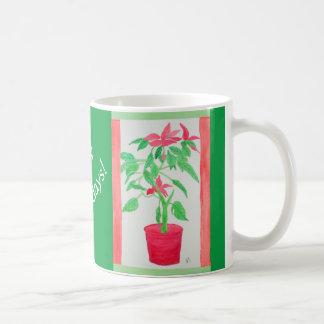 Aquarell-Poinsettia Kaffeetasse