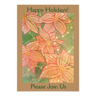 Aquarell-Poinsettias und Perlen auf Weihnachtsbaum Karte