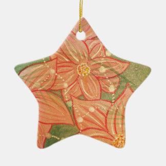 Aquarell-Poinsettias und Perlen auf Weihnachtsbaum Keramik Stern-Ornament