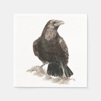 Aquarell-Raben-Vogel-Natur-Kunst Servietten