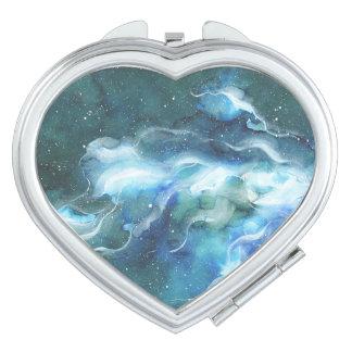 Aquarell-Raum-Nebelfleck-Galaxie Taschenspiegel