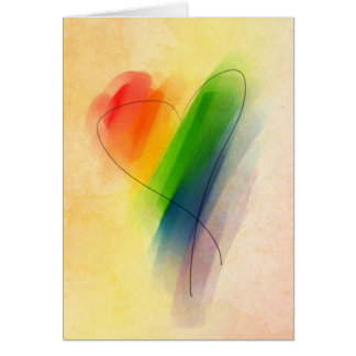 Aquarell-Regenbogen-Herz Karte