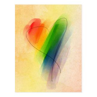Aquarell-Regenbogen-Herz Postkarte