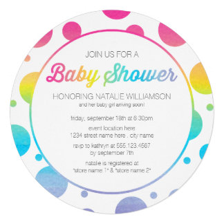 Aquarell-Regenbogen punktiert Babyparty-Einladung