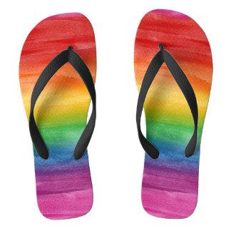 Aquarell-Regenbogen-Streifen Flip Flops