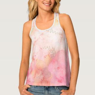 Aquarell-rosa Blumenhintergrund Tanktop