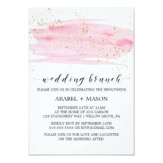Aquarell-Rosa erröten und Goldhochzeits-Brunch 12,7 X 17,8 Cm Einladungskarte