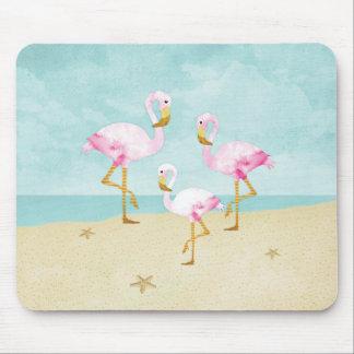 Aquarell-rosa Flamingos auf dem Strand Mousepad