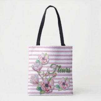 "Aquarell-rosa mit Blumenmagnolien ""Fleurs "" Tasche"