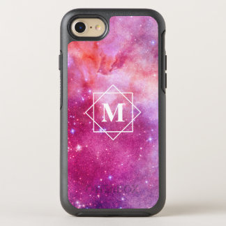 Aquarell-rosa Nebelfleck-Galaxie u. Monogramm der OtterBox Symmetry iPhone 8/7 Hülle