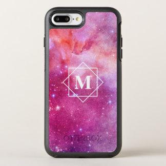 Aquarell-rosa Nebelfleck-Galaxie u. Monogramm der OtterBox Symmetry iPhone 8 Plus/7 Plus Hülle