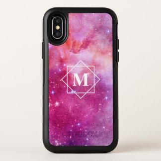 Aquarell-rosa Nebelfleck-Galaxie u. Monogramm der OtterBox Symmetry iPhone X Hülle