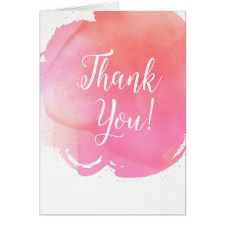 Aquarell-rosa Orange danken Ihnen, Kunst Karte