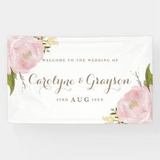 Aquarell-rosa Pfingstrosen, die Fahne Wedding sind Banner