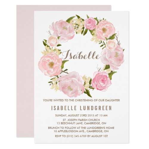 ... Aquarell Rosa Pfingstrosen Kranz Taufe Einladung ...