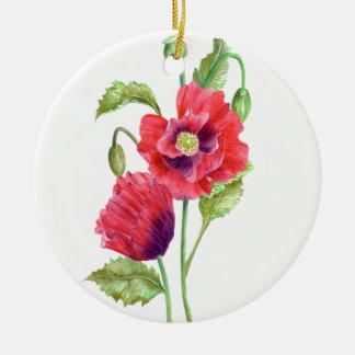 Aquarell-rote Mohnblumen-Blumenkunst Keramik Ornament