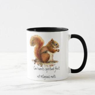 Aquarell-rotes Eichhörnchen, lustiges Zitat Tasse