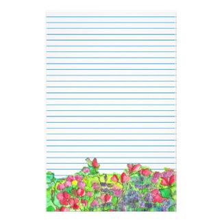 Aquarell-rotes süße Erbsen-Blau gezeichnet Briefpapier