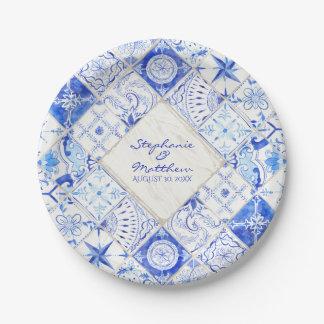 Aquarell-rustikales Land-blauer weißer Pappteller