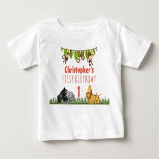 Aquarell-Safari-Dschungel-Tier-erster Geburtstag Baby T-shirt