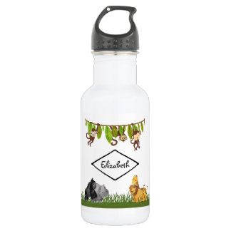 Aquarell-Safari-Dschungel-Tier-Illustration Trinkflasche