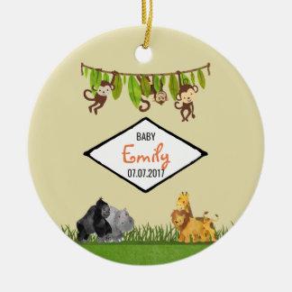 Aquarell-Safari-Dschungel-Tierillustrations-Baby Keramik Ornament