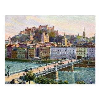 Aquarell-Salzburg-Staats-Brücke 1916 Postkarten