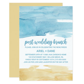 Aquarell-Sand-und Seeposten-Hochzeits-Brunch 12,7 X 17,8 Cm Einladungskarte