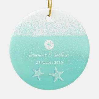 Aquarell-Sanddollar Starfish des Aqua tadellose Keramik Ornament