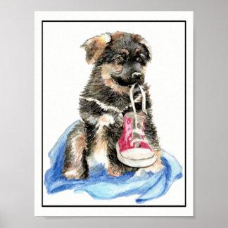 Aquarell-Schäferhund-Hündchen mit Schuh Poster