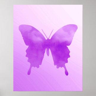 Aquarell-Schmetterling - Lavendel und Veilchen Poster