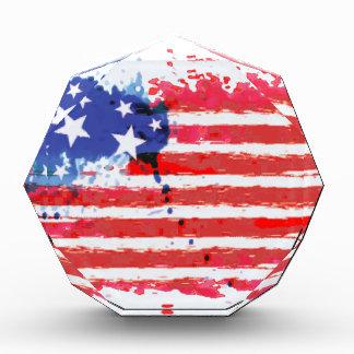 Aquarell-Schmutz amerikanische Flagge Acryl Auszeichnung