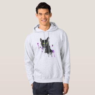 Aquarell-schwarze Katze - Aschen-Sweatshirt Hoodie
