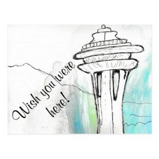 Aquarell-Seattle-Raum-Nadel-Postkarte Postkarte