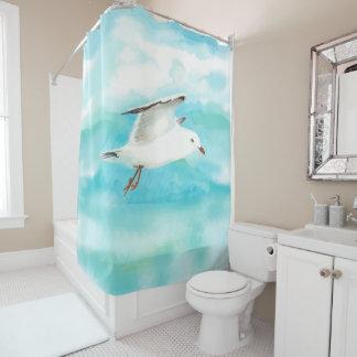 Aquarell-Seemöwe-Möven-Vogel in der Regenkunst Duschvorhang