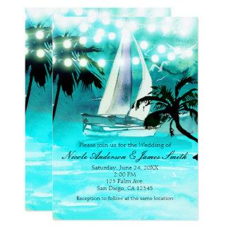 Aquarell-Segelboot-Palmen u. Schnur-Lichter Karte