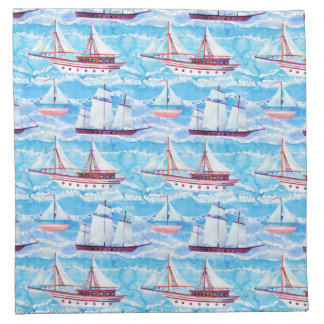 Aquarell-Segelschiff-Muster Stoffserviette