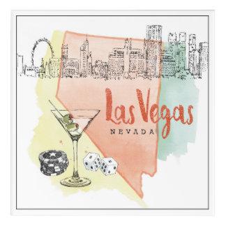 Aquarell-Skizze-Bild Las Vegass, Nevada | Acryldruck