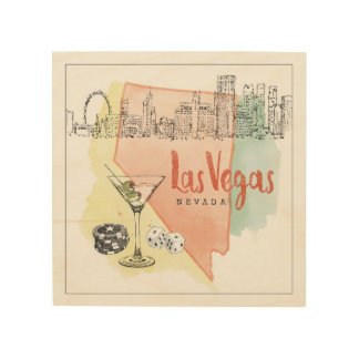 Aquarell-Skizze-Bild Las Vegass, Nevada | Holzwanddeko