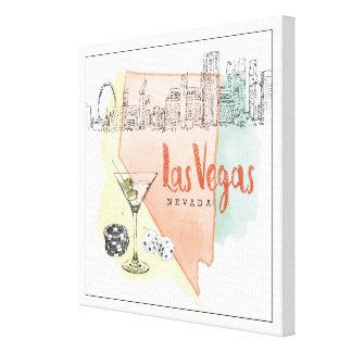 Aquarell-Skizze-Bild Las Vegass, Nevada | Leinwanddruck